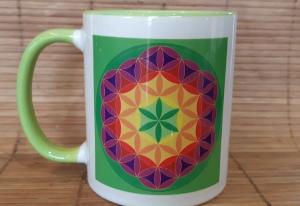 Tasse Blume des Lebens Kaffeebecher Regenbogen
